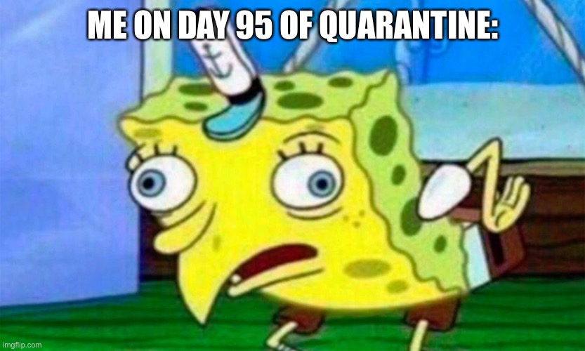 ME ON DAY 95 OF QUARANTINE: | image tagged in spongebob meme | made w/ Imgflip meme maker