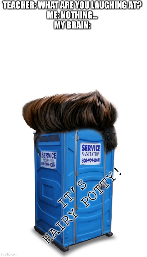 YEA RITE |  TEACHER: WHAT ARE YOU LAUGHING AT? ME: NOTHING... MY BRAIN:; IT'S HAIRY POTTY! | image tagged in blank white template,porta potty,really,harry potter,funny,stop reading the tags | made w/ Imgflip meme maker