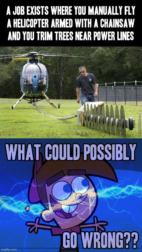 what could go wrong | image tagged in what could go wrong,helicopter,chainsaw,bruh | made w/ Imgflip meme maker