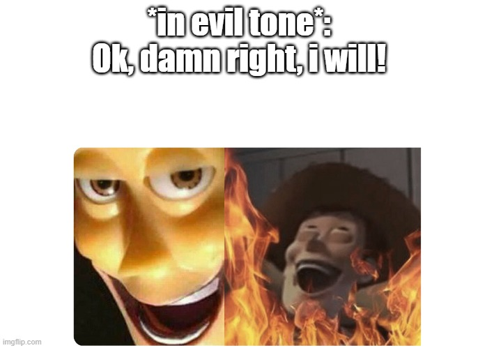 *in evil tone*: Ok, damn right, i will! | image tagged in satanic woody | made w/ Imgflip meme maker
