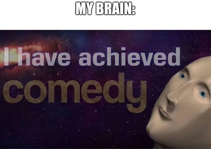 I have achieved comedy | MY BRAIN: | image tagged in i have achieved comedy | made w/ Imgflip meme maker