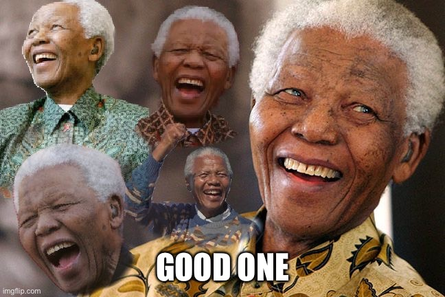 Mandela Laughing in Quarantine | GOOD ONE | image tagged in mandela laughing in quarantine | made w/ Imgflip meme maker
