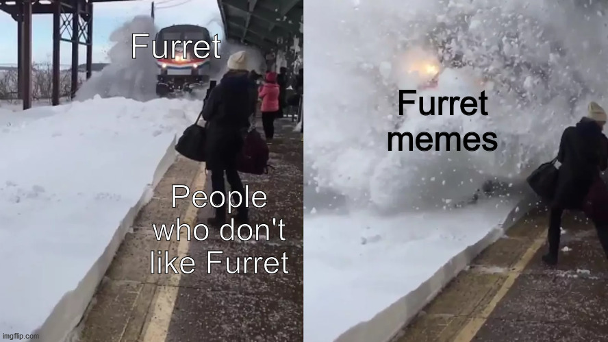 Furret memes forever!!! |  Furret; Furret memes; People who don't like Furret | image tagged in amtrak train plows snow on people,memes,furret | made w/ Imgflip meme maker