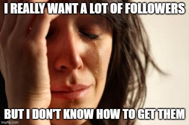 I WANT FOLLOWERS! |  I REALLY WANT A LOT OF FOLLOWERS; BUT I DON'T KNOW HOW TO GET THEM | image tagged in memes,first world problems | made w/ Imgflip meme maker