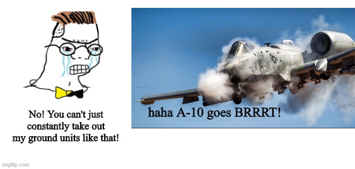 A-10 goes BRRRT! |  No! You can't just constantly take out my ground units like that! haha A-10 goes BRRRT! | image tagged in memes | made w/ Imgflip meme maker