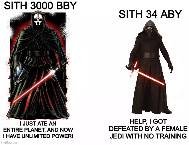 Sith then vs. Sith Now |  SITH 3000 BBY; SITH 34 ABY; HELP, I GOT DEFEATED BY A FEMALE JEDI WITH NO TRAINING; I JUST ATE AN ENTIRE PLANET, AND NOW I HAVE UNLIMITED POWER! | image tagged in buff doge vs cheems,star wars,disney star wars,memes,star wars meme | made w/ Imgflip meme maker