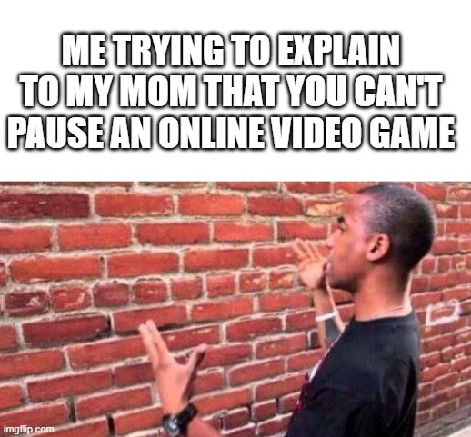It's tru tho... |  ME TRYING TO EXPLAIN TO MY MOM THAT YOU CAN'T PAUSE AN ONLINE VIDEO GAME | image tagged in blank white template,brick wall,funny,meme | made w/ Imgflip meme maker