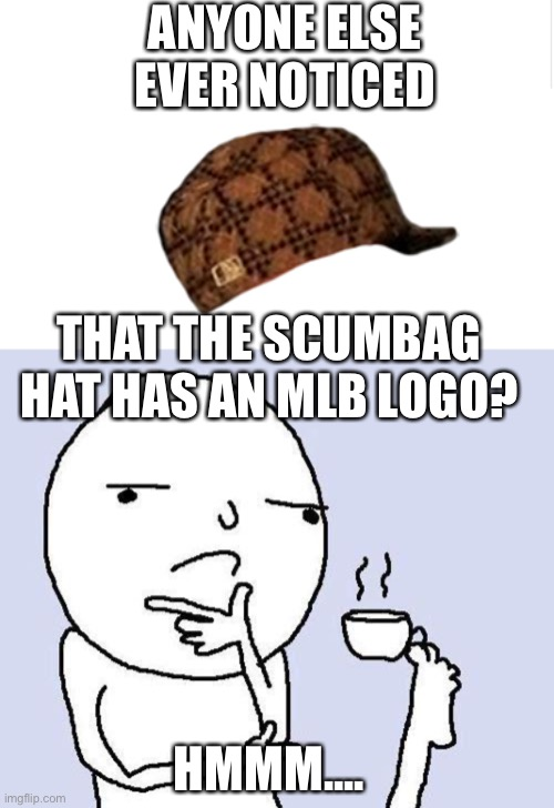 Not that I hate MLB but still... |  ANYONE ELSE EVER NOTICED; THAT THE SCUMBAG HAT HAS AN MLB LOGO? HMMM.... | image tagged in thinking meme,blank meme template | made w/ Imgflip meme maker