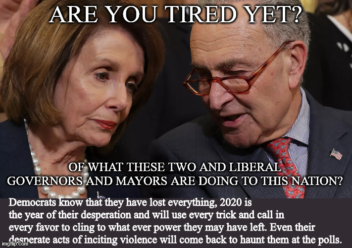 Pelosi & Schumer |  ARE YOU TIRED YET? OF WHAT THESE TWO AND LIBERAL GOVERNORS AND MAYORS ARE DOING TO THIS NATION? Democrats know that they have lost everything, 2020 is the year of their desperation and will use every trick and call in every favor to cling to what ever power they may have left. Even their desperate acts of inciting violence will come back to haunt them at the polls. | image tagged in pelosi,schumer,dispicable,liberal | made w/ Imgflip meme maker