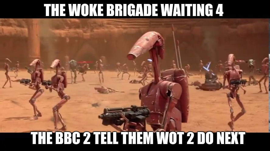 THE WOKE BRIGADE WAITING 4; THE BBC 2 TELL THEM WOT 2 DO NEXT | image tagged in qanon,the great awakening,woke,you're welcome,today was a good day,good day | made w/ Imgflip meme maker