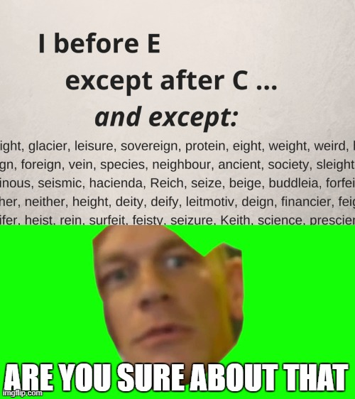 I before E except after cena |  ARE YOU SURE ABOUT THAT | image tagged in are you sure about that cena | made w/ Imgflip meme maker