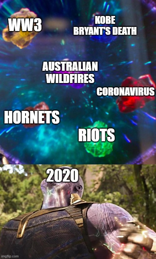 We are in for a long ride |  KOBE BRYANT'S DEATH; WW3; AUSTRALIAN WILDFIRES; CORONAVIRUS; HORNETS; 2020; RIOTS | image tagged in thanos infinity stones | made w/ Imgflip meme maker