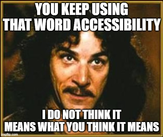 princess bride |  YOU KEEP USING THAT WORD ACCESSIBILITY; I DO NOT THINK IT MEANS WHAT YOU THINK IT MEANS | image tagged in princess bride | made w/ Imgflip meme maker