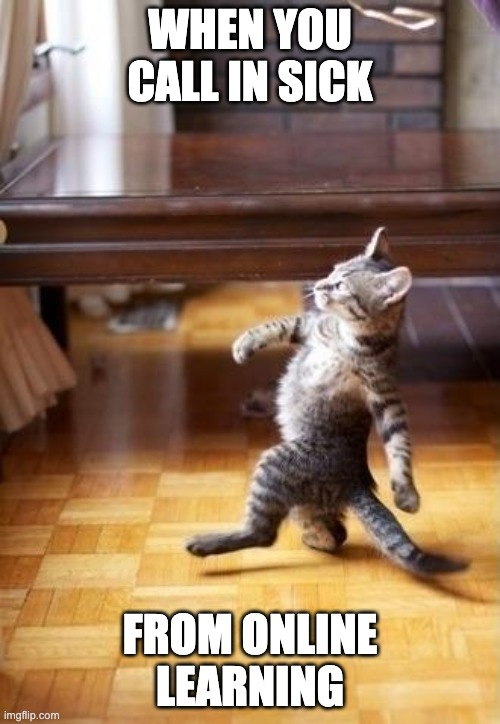Cool Cat Stroll |  WHEN YOU CALL IN SICK; FROM ONLINE LEARNING | image tagged in memes,cool cat stroll,funny | made w/ Imgflip meme maker