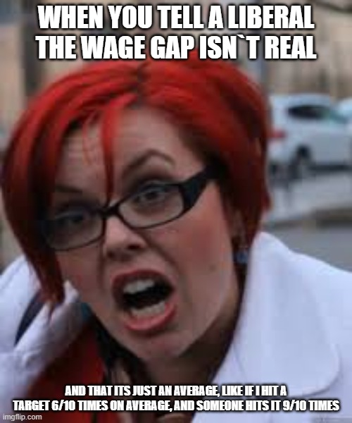SJW Triggered |  WHEN YOU TELL A LIBERAL THE WAGE GAP ISN`T REAL; AND THAT ITS JUST AN AVERAGE, LIKE IF I HIT A TARGET 6/10 TIMES ON AVERAGE, AND SOMEONE HITS IT 9/10 TIMES | image tagged in sjw triggered | made w/ Imgflip meme maker