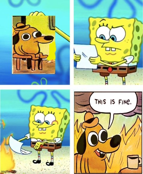 The ultimate crossover | image tagged in spongebob burning paper,memes | made w/ Imgflip meme maker