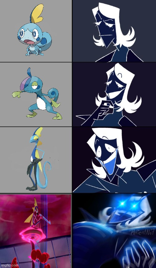 (「๑•₃•)「 ʷʱʸ? | image tagged in rouxls kaard,sobble,drizzile,inteleon | made w/ Imgflip meme maker