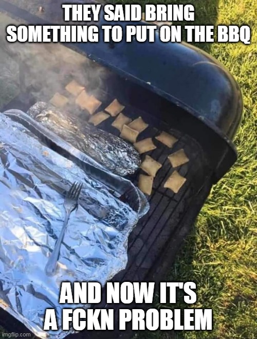 They said bring something to the BBQ and now its a freaking problem |  THEY SAID BRING SOMETHING TO PUT ON THE BBQ; AND NOW IT'S A FCKN PROBLEM | image tagged in bbq,funny,funny memes,4th of july,problem | made w/ Imgflip meme maker