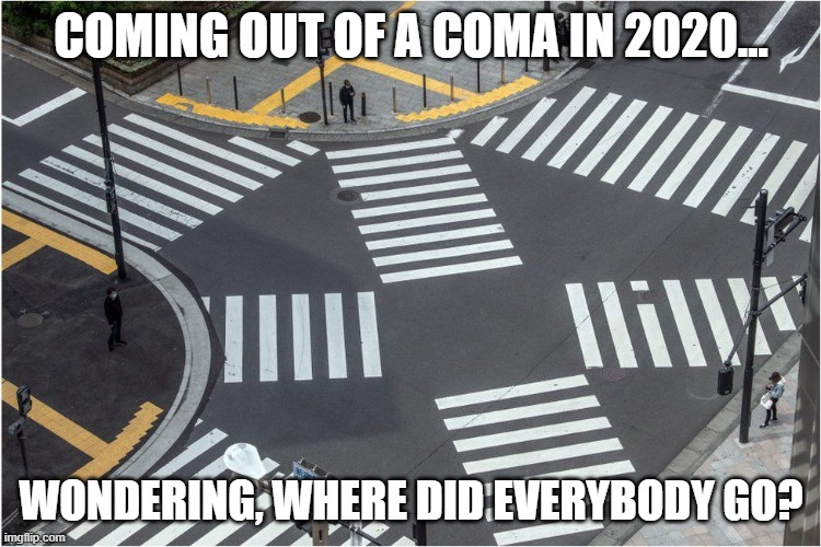 WHERE'S WALDO |  COMING OUT OF A COMA IN 2020... WONDERING, WHERE DID EVERYBODY GO? | image tagged in where are they now,covid-19,covid19 | made w/ Imgflip meme maker