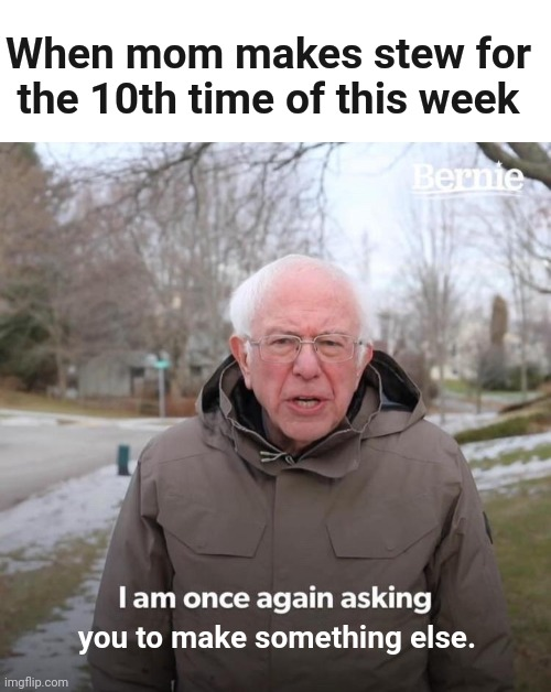 As A Semi-Vegetarian, I Dislike Meat Stew |  When mom makes stew for the 10th time of this week; you to make something else. | image tagged in memes,bernie i am once again asking for your support,funny,relatable,mom | made w/ Imgflip meme maker