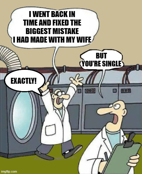 back to the future |  I WENT BACK IN TIME AND FIXED THE BIGGEST MISTAKE I HAD MADE WITH MY WIFE; BUT YOU'RE SINGLE; EXACTLY! | image tagged in science-by-kewlew,time travel,kewlew | made w/ Imgflip meme maker