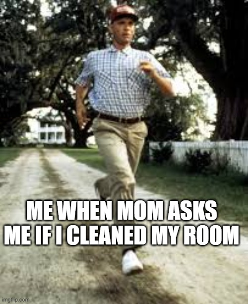 ME WHEN MOM ASKS ME IF I CLEANED MY ROOM | image tagged in run | made w/ Imgflip meme maker