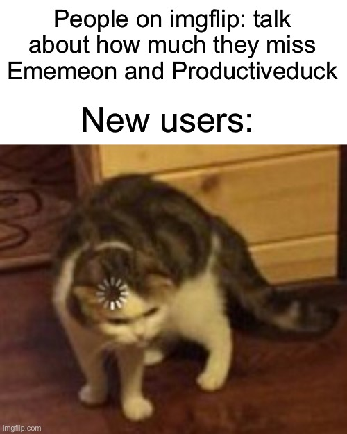 They be heccin confused |  People on imgflip: talk about how much they miss Ememeon and Productiveduck; New users: | image tagged in loading cat | made w/ Imgflip meme maker