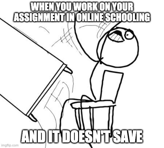 Who else had this struggle? |  WHEN YOU WORK ON YOUR ASSIGNMENT IN ONLINE SCHOOLING; AND IT DOESN'T SAVE | image tagged in memes,table flip guy | made w/ Imgflip meme maker