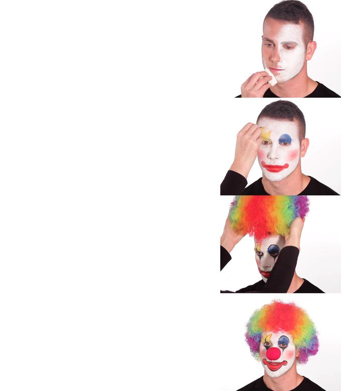Putting on clown makeup Blank Template - Imgflip