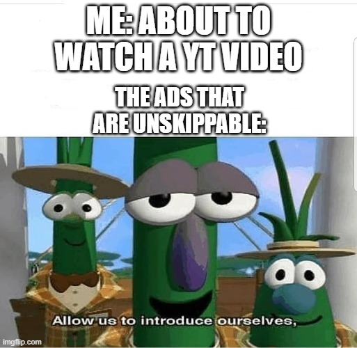 Allow us to introduce ourselves |  ME: ABOUT TO WATCH A YT VIDEO; THE ADS THAT ARE UNSKIPPABLE: | image tagged in allow us to introduce ourselves | made w/ Imgflip meme maker