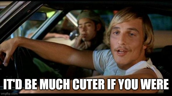 Matthew Mcconaughey |  IT'D BE MUCH CUTER IF YOU WERE | image tagged in matthew mcconaughey | made w/ Imgflip meme maker