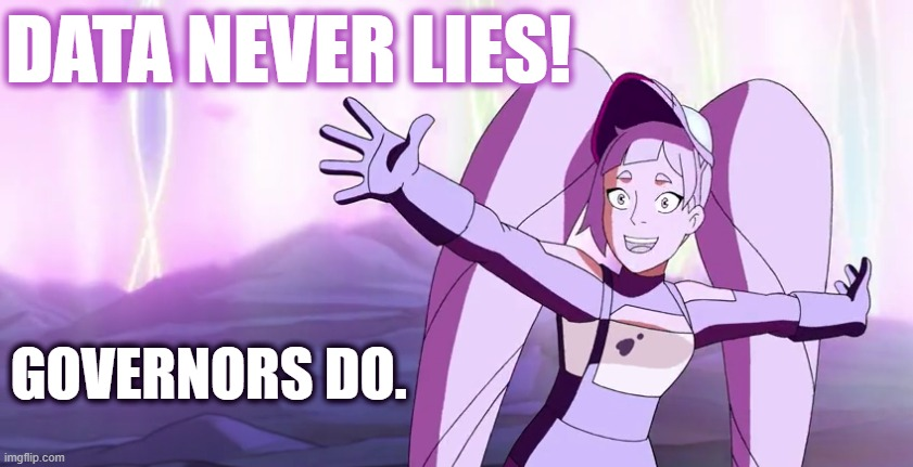 Data never lies |  DATA NEVER LIES! GOVERNORS DO. | image tagged in entrapta,covid-19,corona,virus,rona,she-ra | made w/ Imgflip meme maker