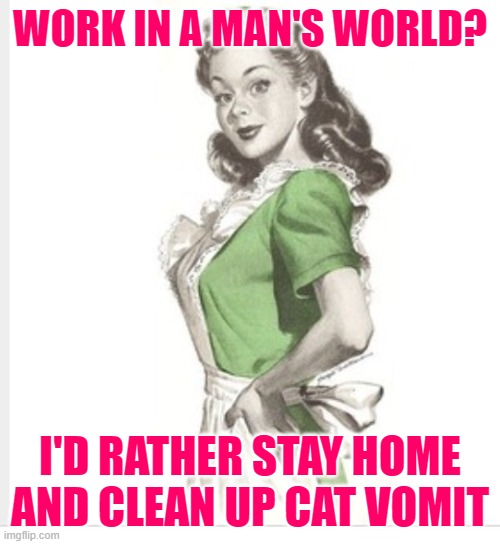 Sassy Cat Lady |  WORK IN A MAN'S WORLD? I'D RATHER STAY HOME AND CLEAN UP CAT VOMIT | image tagged in 50's housewife,housework,sassy,cat lady,funny memes,stay at home | made w/ Imgflip meme maker