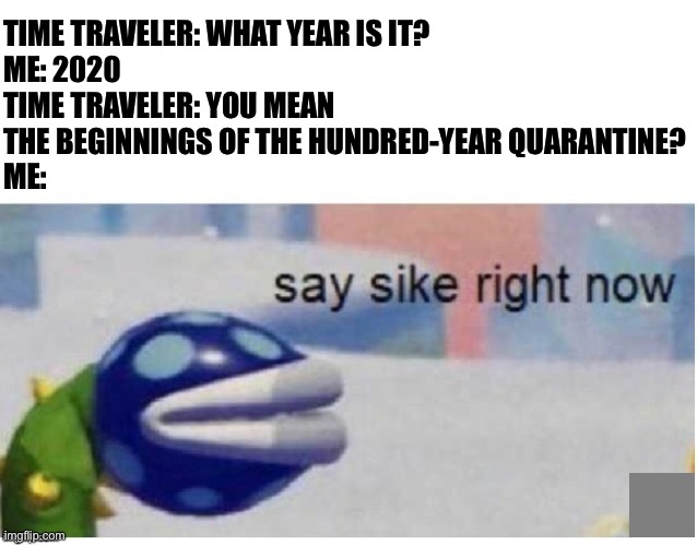 say sike right now |  TIME TRAVELER: WHAT YEAR IS IT? ME: 2020 TIME TRAVELER: YOU MEAN THE BEGINNINGS OF THE HUNDRED-YEAR QUARANTINE? ME: | image tagged in say sike right now | made w/ Imgflip meme maker