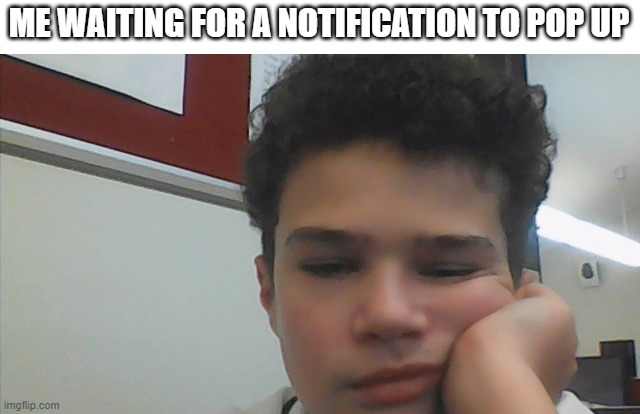 it sucks (wasting my time) (face reveal) |  ME WAITING FOR A NOTIFICATION TO POP UP | image tagged in notification,wasting time,face reveal | made w/ Imgflip meme maker