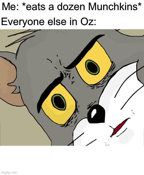 Munchies of Munchkinland |  Me: *eats a dozen Munchkins*; Everyone else in Oz: | image tagged in memes,unsettled tom,wizard of oz,funny,that moment when,food | made w/ Imgflip meme maker