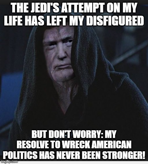 Sith Lord Trump |  THE JEDI'S ATTEMPT ON MY LIFE HAS LEFT MY DISFIGURED; BUT DON'T WORRY: MY RESOLVE TO WRECK AMERICAN POLITICS HAS NEVER BEEN STRONGER! | image tagged in sith lord trump | made w/ Imgflip meme maker