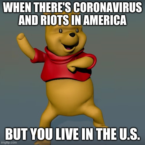 I wonder how far apart they are... |  WHEN THERE'S CORONAVIRUS AND RIOTS IN AMERICA; BUT YOU LIVE IN THE U.S. | image tagged in winnie the pooh,coronavirus,riots | made w/ Imgflip meme maker