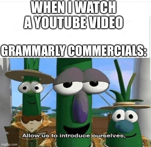 Allow us to introduce ourselves |  WHEN I WATCH A YOUTUBE VIDEO; GRAMMARLY COMMERCIALS: | image tagged in allow us to introduce ourselves,memes,grammarly | made w/ Imgflip meme maker