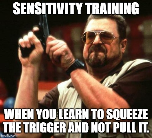 Sensitivity Training |  SENSITIVITY TRAINING; WHEN YOU LEARN TO SQUEEZE THE TRIGGER AND NOT PULL IT. | image tagged in gun,sensitivity,training,sensitivity training | made w/ Imgflip meme maker