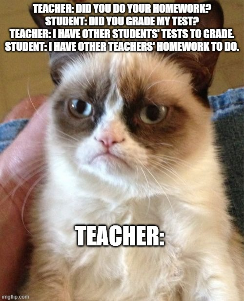 Grumpy Cat |  TEACHER: DID YOU DO YOUR HOMEWORK? STUDENT: DID YOU GRADE MY TEST? TEACHER: I HAVE OTHER STUDENTS' TESTS TO GRADE. STUDENT: I HAVE OTHER TEACHERS' HOMEWORK TO DO. TEACHER: | image tagged in memes,grumpy cat | made w/ Imgflip meme maker