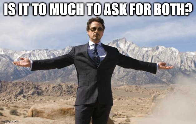 Friday Tony Stark | IS IT TO MUCH TO ASK FOR BOTH? | image tagged in friday tony stark | made w/ Imgflip meme maker