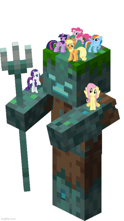 The Mane 6 standing on a Drowned from Minecraft | image tagged in mlp fim,mlp meme,crossover,minecraft | made w/ Imgflip meme maker