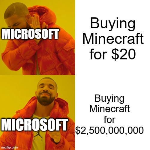 Microsoft and Minecraft |  Buying Minecraft for $20; MICROSOFT; Buying Minecraft for $2,500,000,000; MICROSOFT | image tagged in memes,drake hotline bling,minecraft,microsoft | made w/ Imgflip meme maker