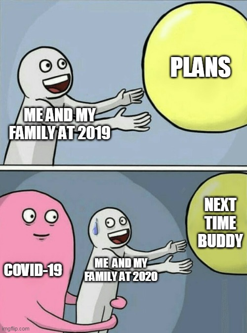 Plans Just Ruined |  PLANS; ME AND MY FAMILY AT 2019; NEXT TIME BUDDY; COVID-19; ME  AND MY FAMILY AT 2020 | image tagged in memes,running away balloon | made w/ Imgflip meme maker
