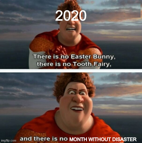 Why can't 2020 be a normal year!? |  2020; MONTH WITHOUT DISASTER | image tagged in tighten megamind there is no easter bunny,2020,covid-19,memes | made w/ Imgflip meme maker