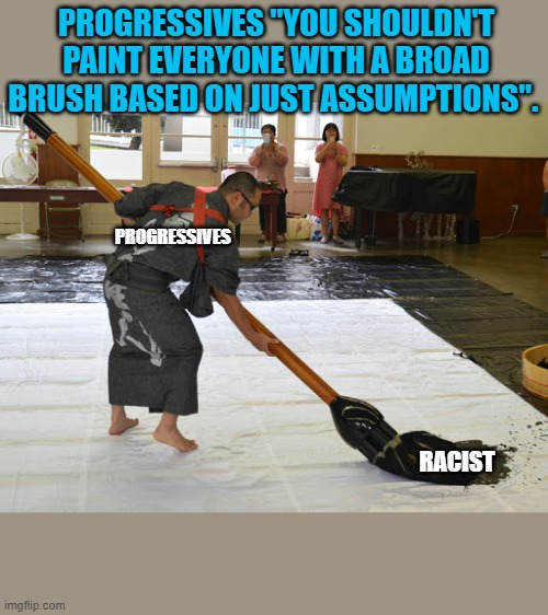 "PROGRESSIVES ""YOU SHOULDN'T PAINT EVERYONE WITH A BROAD BRUSH BASED ON JUST ASSUMPTIONS"". PROGRESSIVES; RACIST 