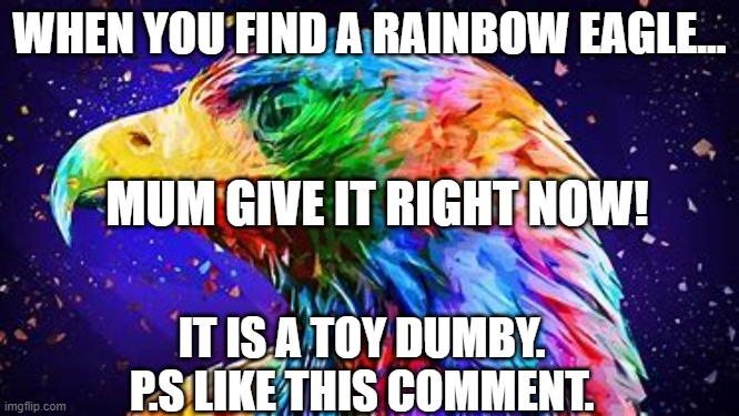 WHEN YOU FIND A RAINBOW EAGLE... MUM GIVE IT RIGHT NOW! IT IS A TOY DUMBY.  P.S LIKE THIS COMMENT. | made w/ Imgflip meme maker