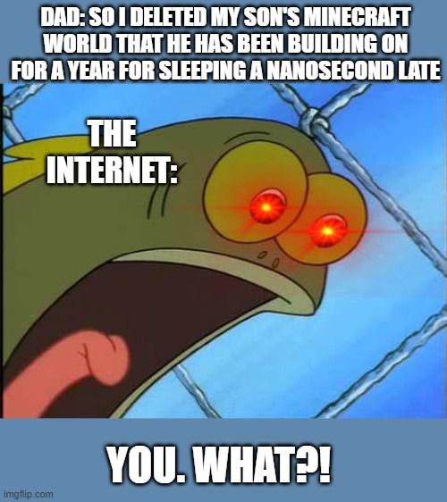 You what?! |  DAD: SO I DELETED MY SON'S MINECRAFT WORLD THAT HE HAS BEEN BUILDING ON FOR A YEAR FOR SLEEPING A NANOSECOND LATE; THE INTERNET:; YOU. WHAT?! | image tagged in you what | made w/ Imgflip meme maker