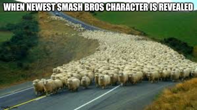 WHEN NEWEST SMASH BROS CHARACTER IS REVEALED | image tagged in sheep running | made w/ Imgflip meme maker